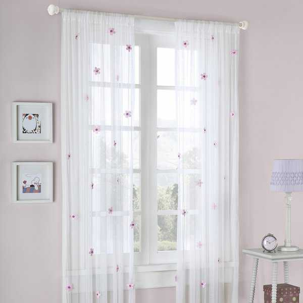 Mi Zone Taylor Flower Sheer Tailored Single Curtain Panel