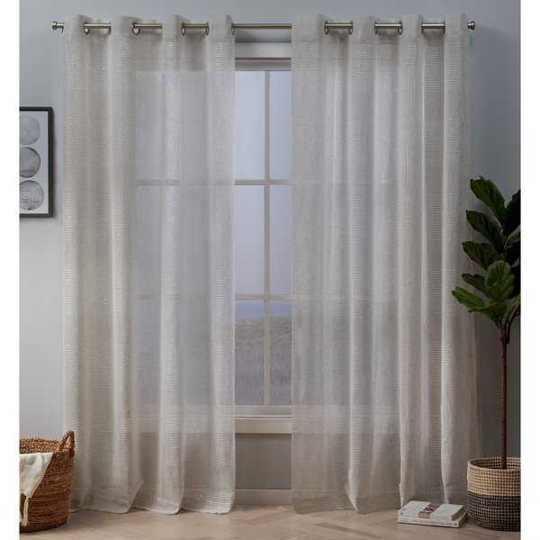 ATI Home Crest Stripe Embellished Sheer Grommet Top Curtain Panel Pair