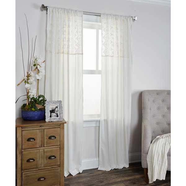 Arden Loft Coquette Collection Ivory Cotton Curtain Panel
