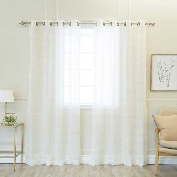 Aurora Home Faux Linen Grommet 84-inch Curtain Panel Pair - 50 x 84