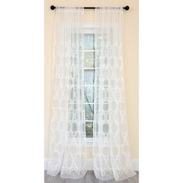Manor Luxe Krystal Clear Geometric Embroidered Sheer Single Curtain Panel