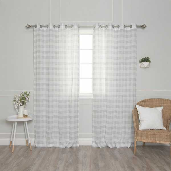 Aurora Home Faux Linen Watercolor Check Curtain Panel Pair - 52'W x 84'L