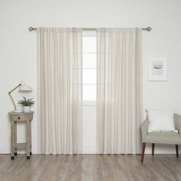 Aurora Home Linen Blend Stripe Border Curtain Panel Pair - 52'W x 84'L