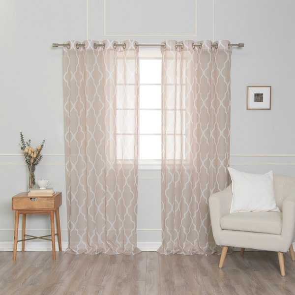 Aurora Home Sheer Moroccan Grommet Top 84-inch Curtain Panel Pair - 54'w x 84'l