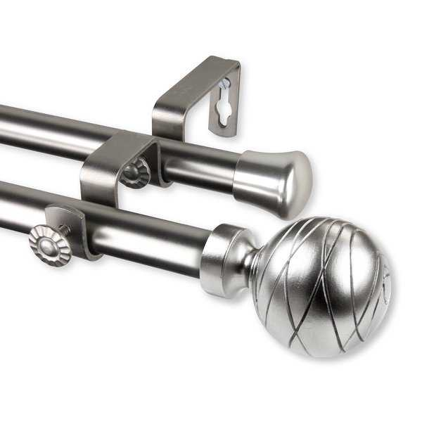 Rod Desyne Arman 13/16' Steel Double Curtain Rod 120'-170' - Satin Nickel