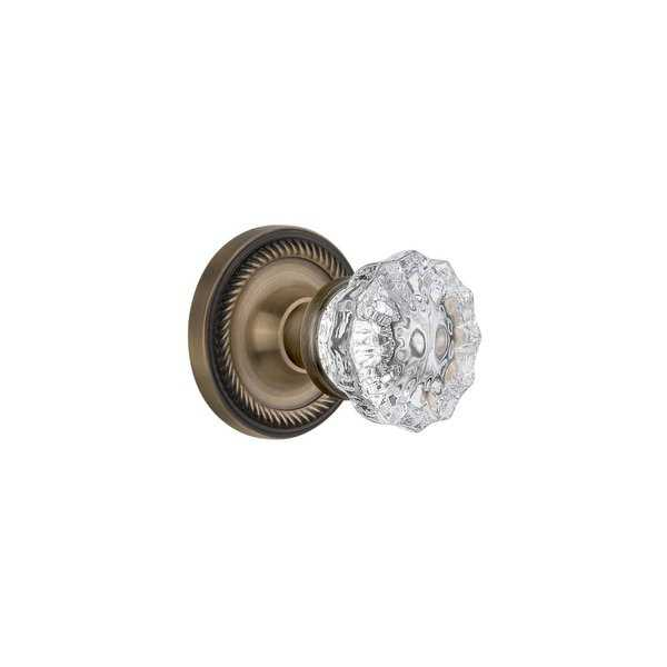 Nostalgic Warehouse ROPCRY_PRV_234_NK Crystal Solid Brass Privacy Knob Set with Rope Rose and 2-3/4' Backset - N/A