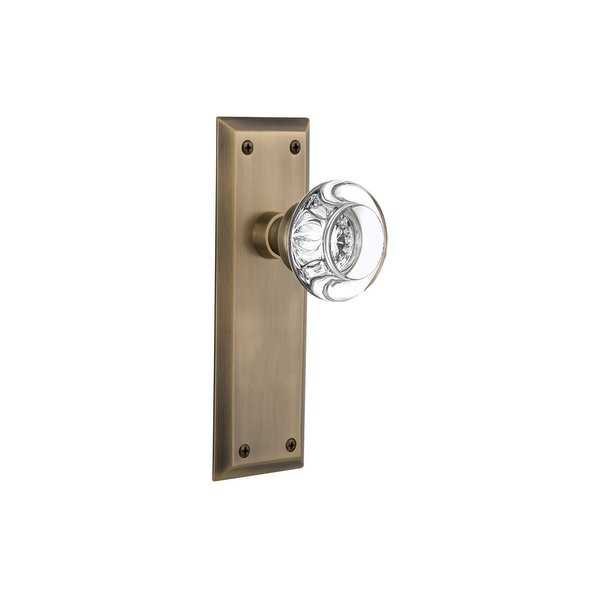 Nostalgic Warehouse NYKRCC_SD_NK Round Clear Crystal Solid Brass Single Dummy Knob with New York Rose - N/A