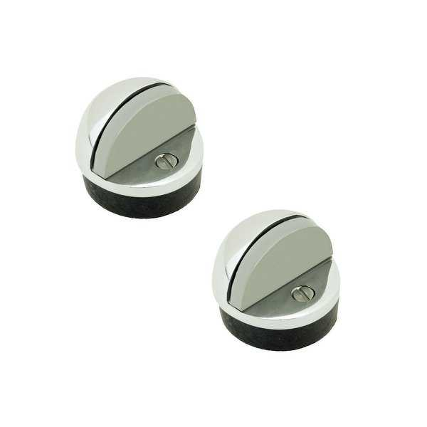 2 Brass Door Stop Dome Floor Mount Bumper Chrome | Renovator's Supply