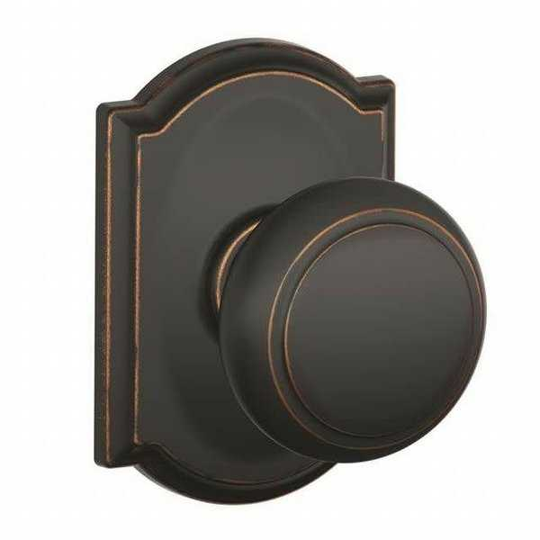 Schlage F10-AND-CAM Passage Andover Door Knob Set with Decorative Camelot Rose from the F-Series - Aged Bronze