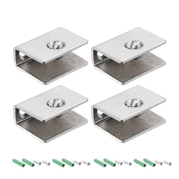 Glass Shelf Brackets - Stainless Steel Glass Clamp Rectangle for 5-10mm, 4 Pcs