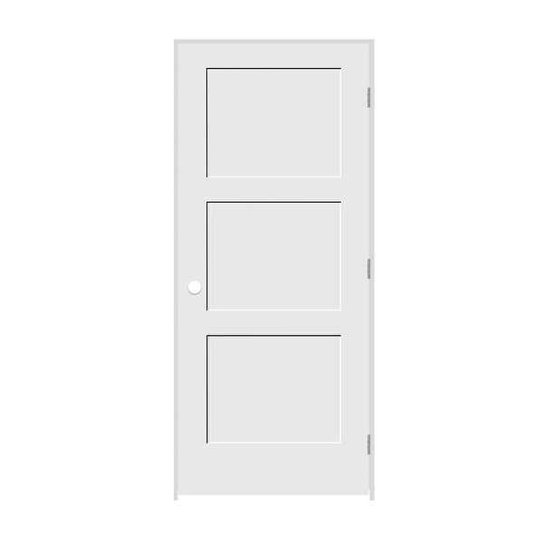 Trimlite 1668138-8433LH26D4916 18' by 80' Shaker 3-Panel Left Handed Interior Pr - Primed - N/A