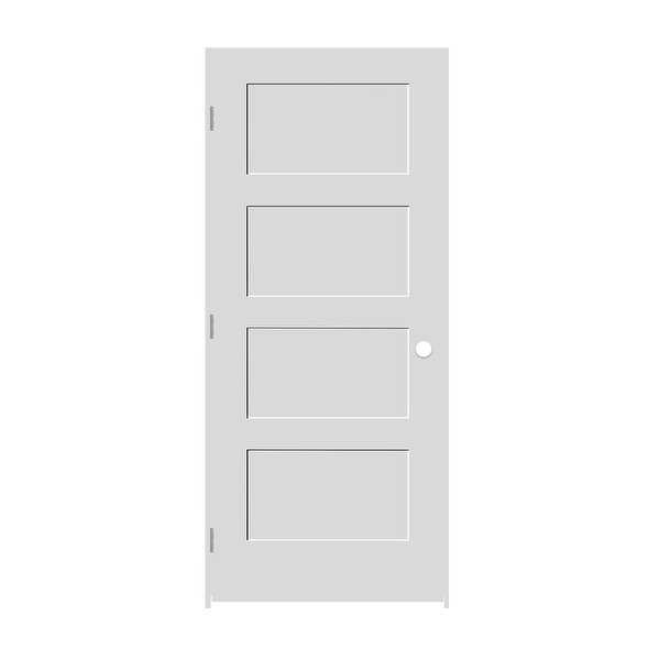 Trimlite 2268138-8444RH154916 26' by 80' Shaker 4-Panel Right Handed Interior Pr - Primed - N/A